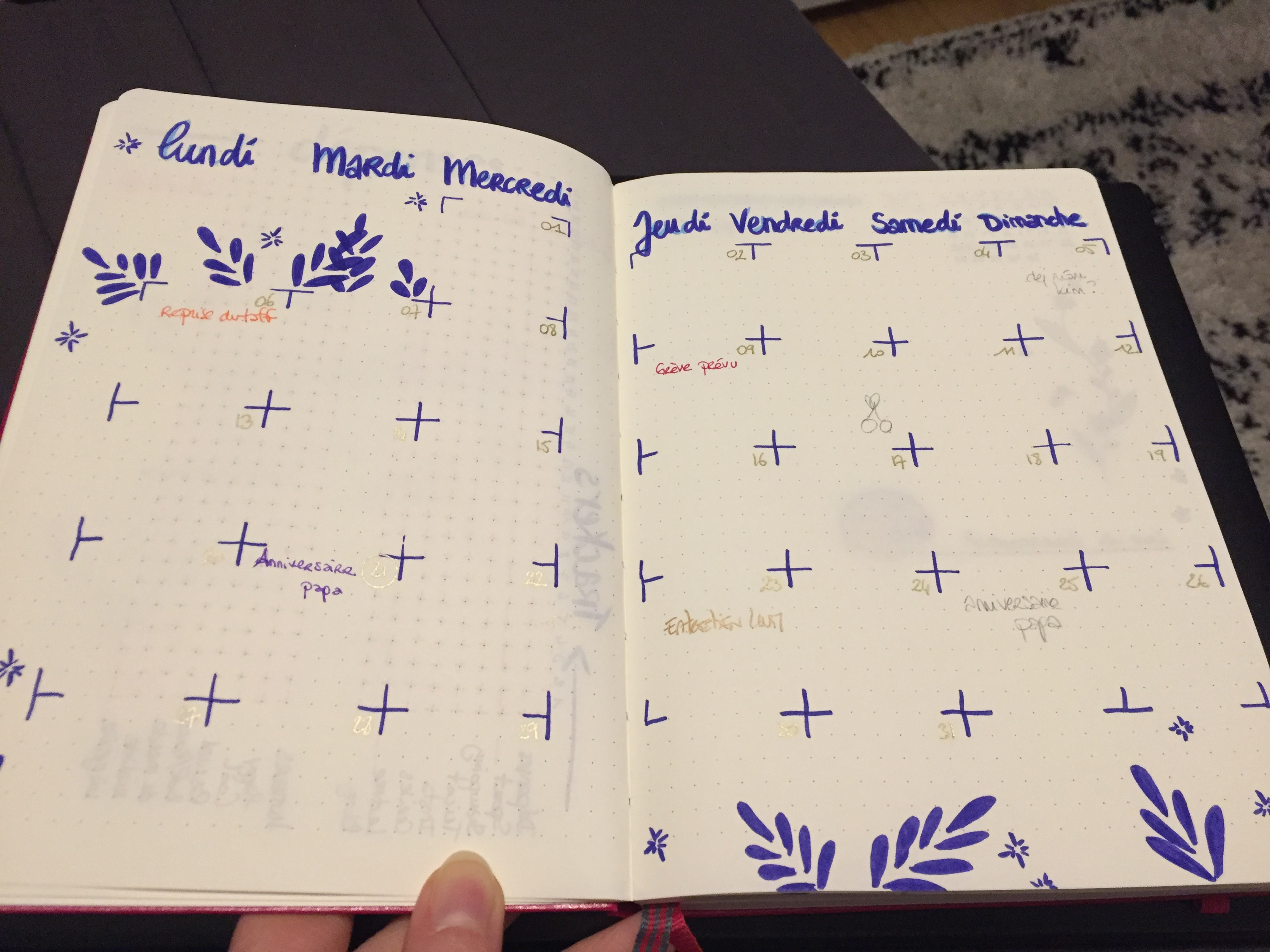 bullet journal - calendrier